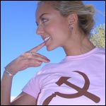 Pink and Brown Hammer and Sickle shirt